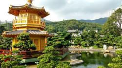 A temple garden in Hong Kong