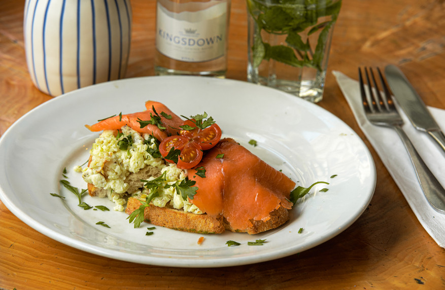 Smoked Salmon on Tasts with Scrambled eggs