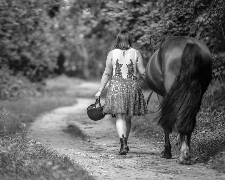 Brandy walking along Black and white