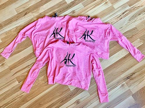AKInverted Pink Crop Hoodie