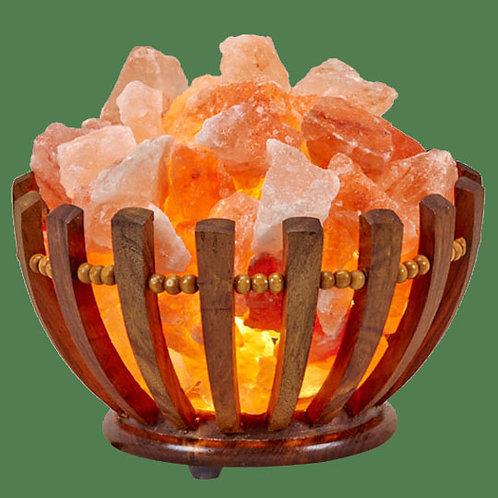 Himalayan Salt Lamp Wooden Bowl Basket