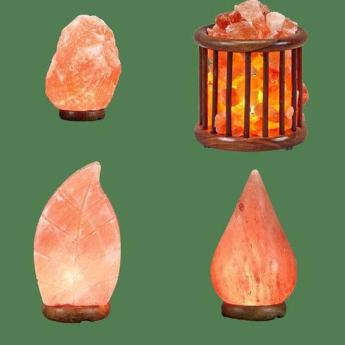 Himalayan Salt Lamps 1 Micro + 1 Leaf + 1 Wooden Basket Medium Round Tal
