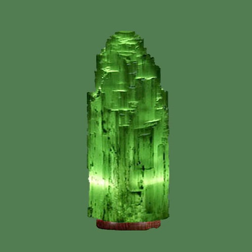 """Selenite Lamp Small Green (White crystal with green bulb) 9"""""""