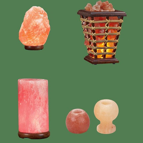 Himalayan Salt Lamps 1 Micro + 1 Wooden Basket Medium Square + 1 Cylinder + 1 Ca