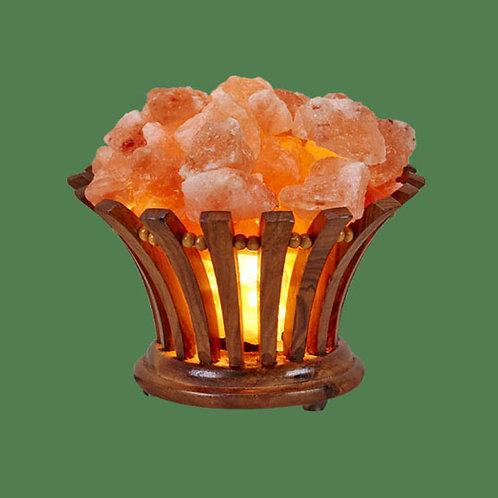 Himalayan Salt Lamp Wooden Flower Basket