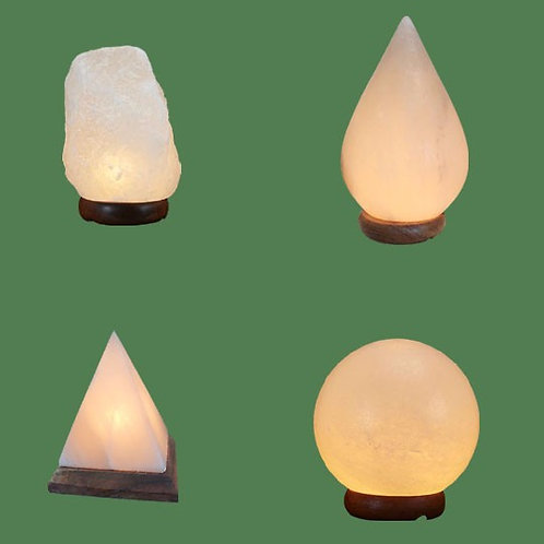 Himalayan Salt Lamps 1 White Micro + 1 White Tear Drop + 1 White Pyramid + 1 Whi