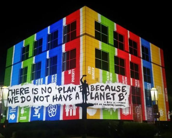 The SDGs projected on Questacon last November.