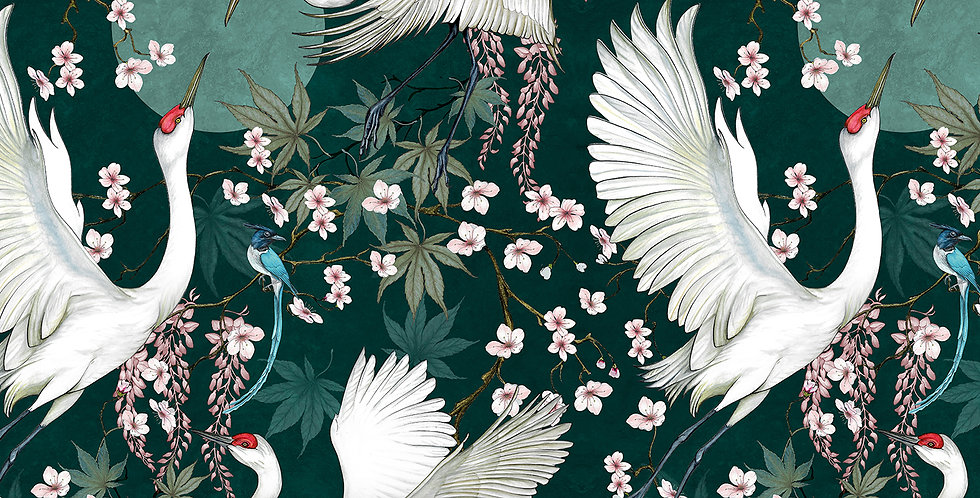 Lotus Cranes Fabric Green