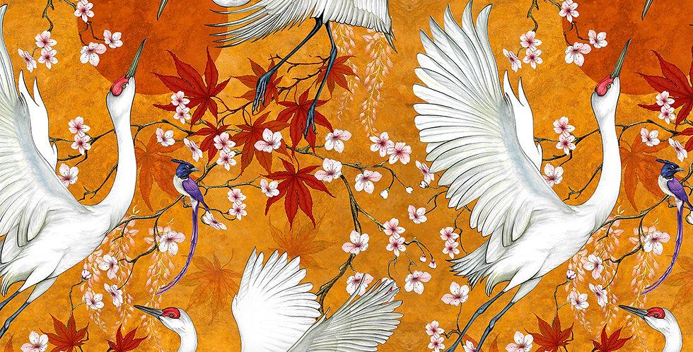 Lotus Cranes Fabric Gold (Mustard)