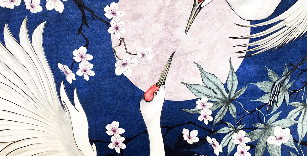 Lotus Cranes Fabric Midnight
