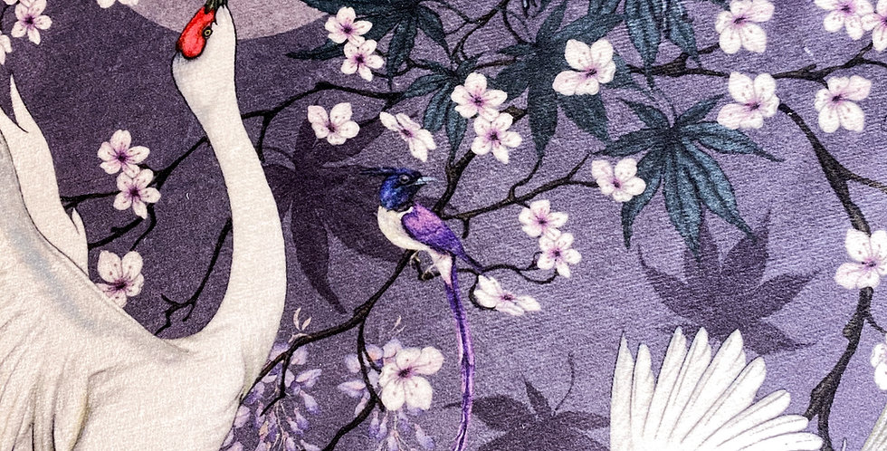 Lotus Cranes Fabric Mauve