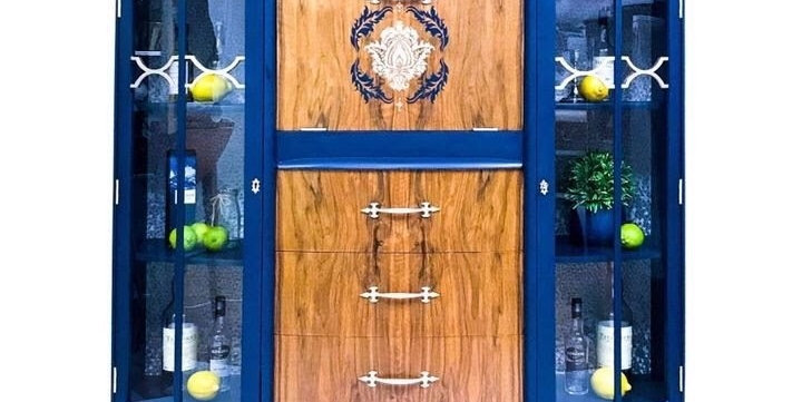 Queenie Navy and Champagne Drinks Cabinet