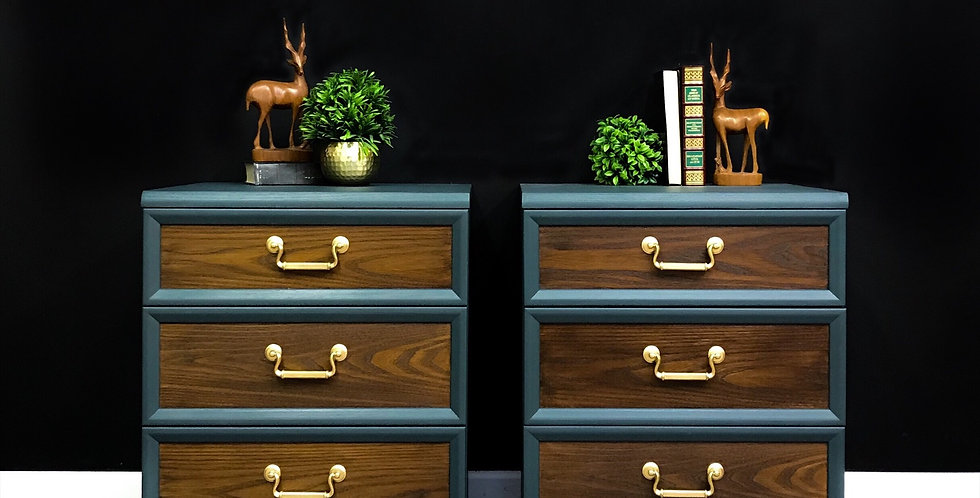 G Plan Bedside Tables in Green and Wood