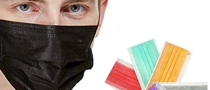 Masque facial pour adultes jetables noir blanc rose gris violet jaune