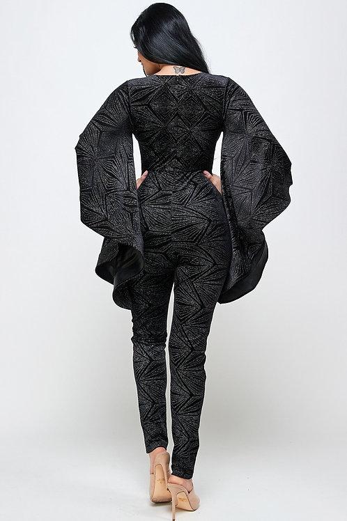 The Velvet Bat Sleeved Jumpsuit