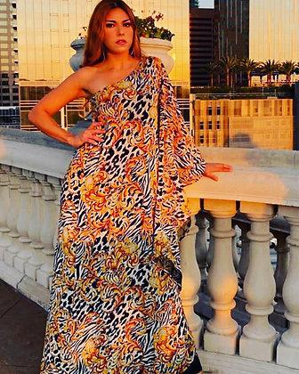 One Shoulder Leopard Beauty