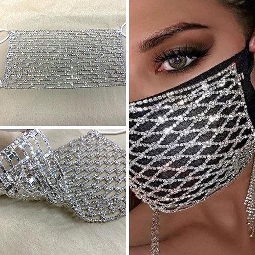 Silver Crystal Cutout Mask