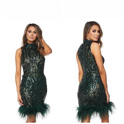 Green Sequin Midi Dress