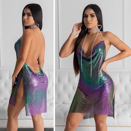 Liquid Metal Dress In Mermaid Green
