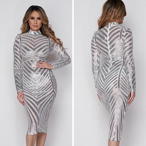 Silver Midi Dress