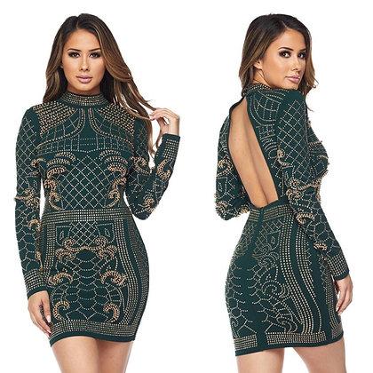 Emerald Empress Beaded Dress