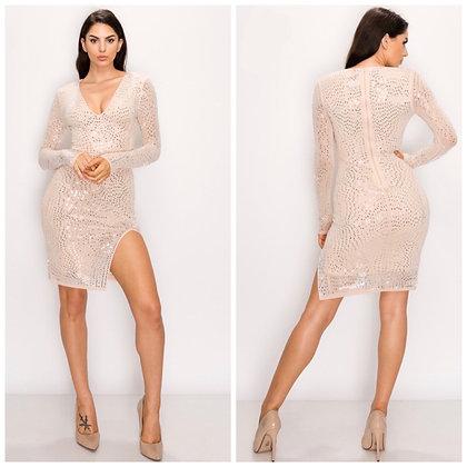 Nude Rhinestone Midi Dress