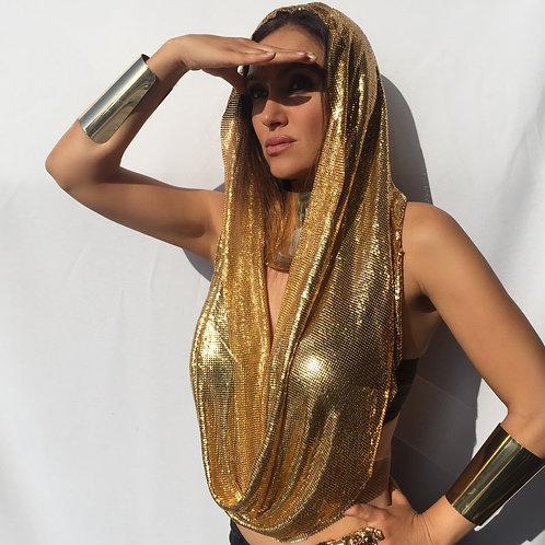 Gold Metal Mesh Scarf