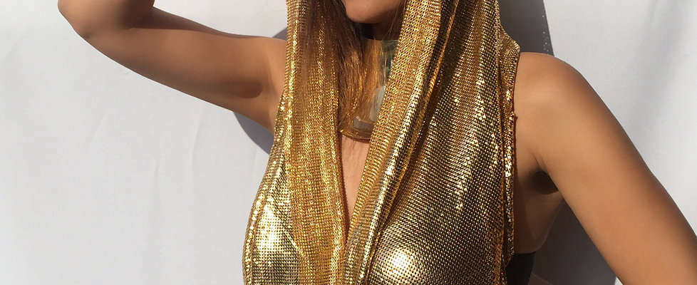 Gold Metal Mesh Scarf