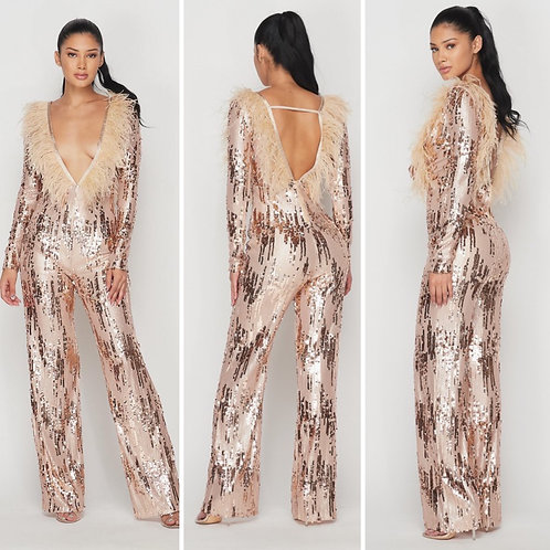 JLo Feather Jumpsuit In Rosegold