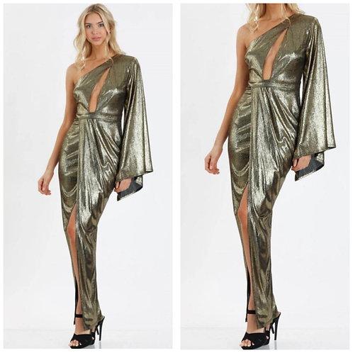 Gatsby Metallic Dress In Gold