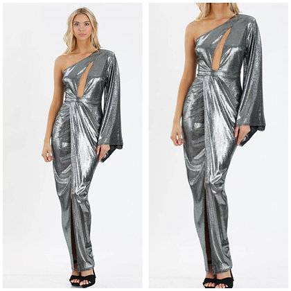 Gatsby Metallic Dress In Silver