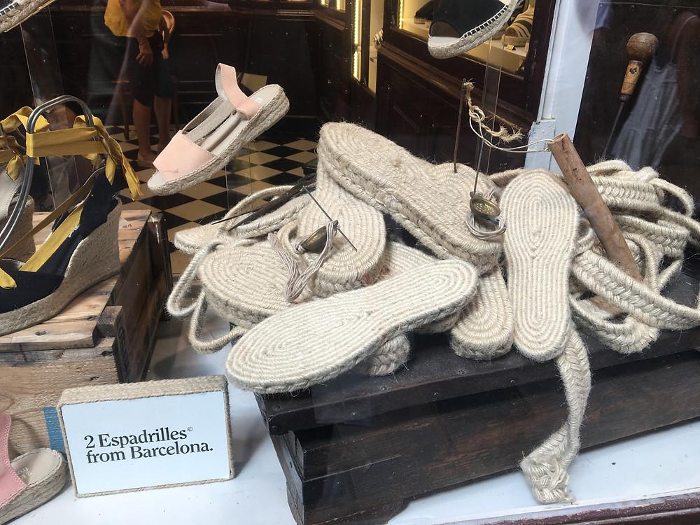 Espadrille jute soles displayed in the window of 2Espadrilles
