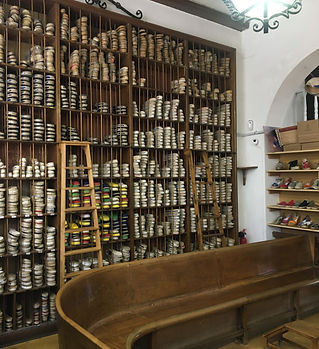 Inside the oldest espadrille shoe shop in Barcelona.JPG
