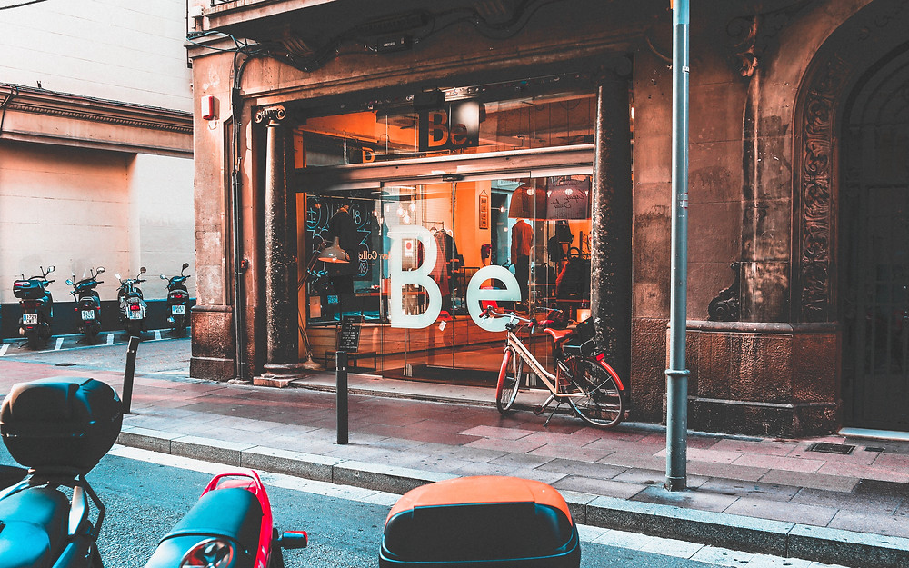 Be store shop front in Barcelona, Spain