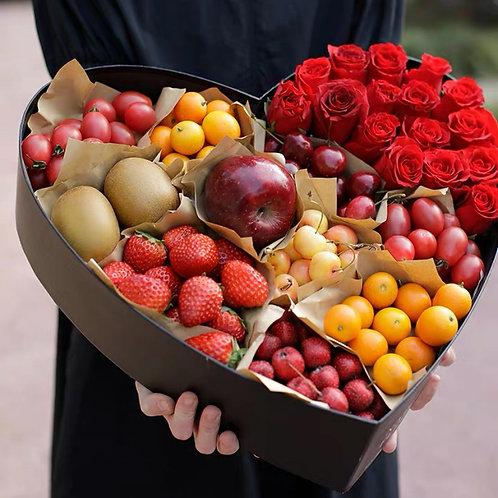 I-LOVE-YOU Heart-shaped Premium Fruit Basket