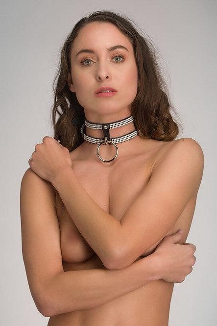 Leren collar halsband 2 laags – Diamond
