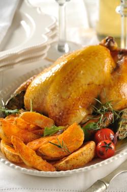 Pollo rostizado al romero y ajo