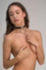 Leatherlook bondage halsband – Sub