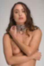 Leren collar halsband 3 laags – Diamonds