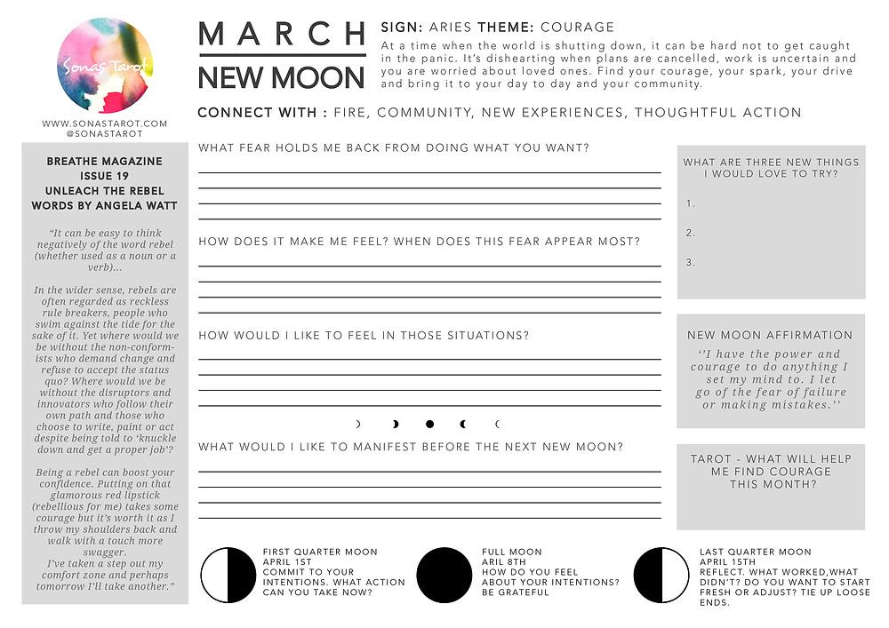 Free Worksheet New Moon Rituals