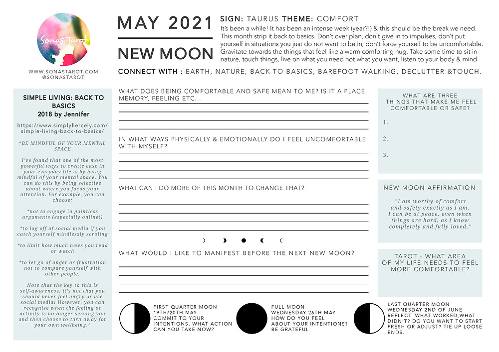 A worksheet for the May 2021 New Moon in Taurus. The theme is Comfort.