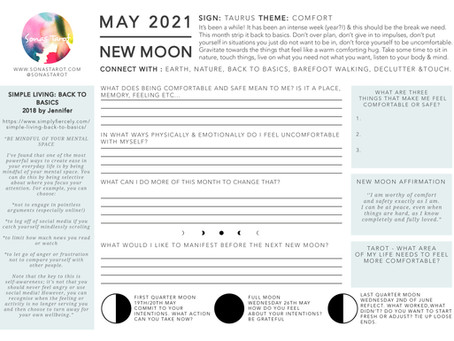 New Moon In Taurus -  May 2021 - Free Worksheet