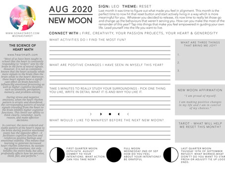 Free August New Moon in August  Worksheet
