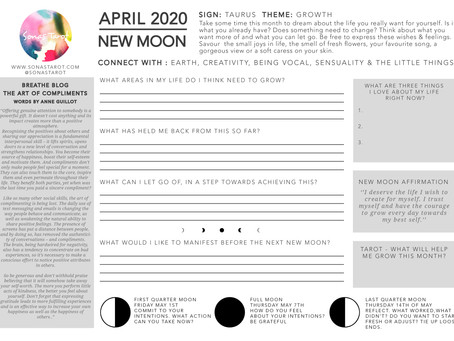Free April 2020 New Moon Worksheet