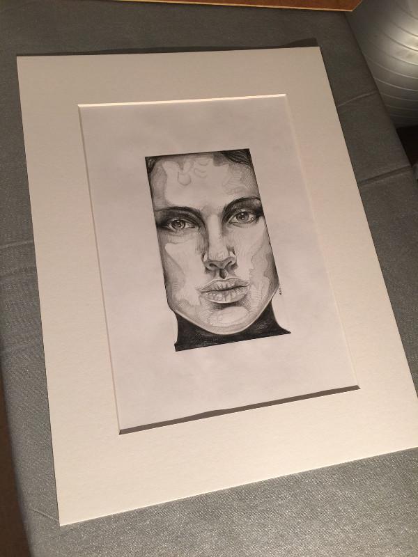 IGABFAT:  Framing the Natalie Portman drawing.