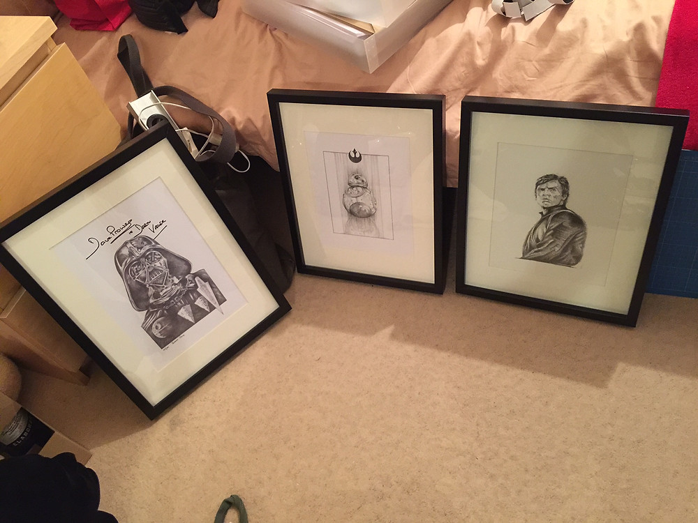 IGABFAT:  'Destiny' print signed by Prowse, along with a new BB-8 drawing and an older drawing of Jedi Luke.