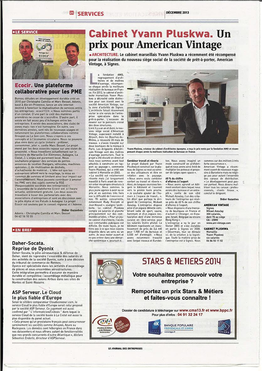 Journal Entreprises - Décembre 2013