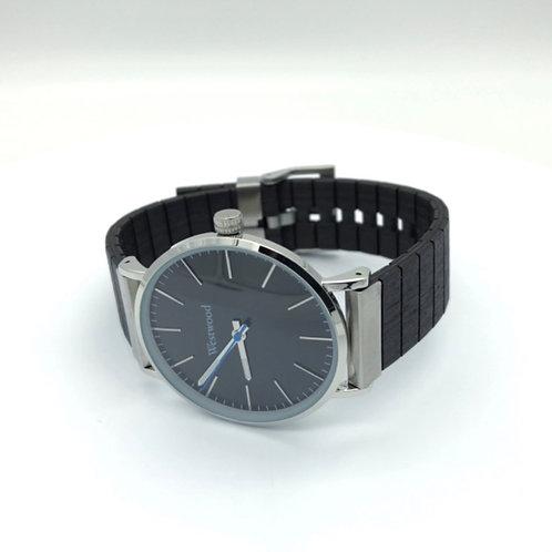 Basic Watch Wood Strap Black On Black