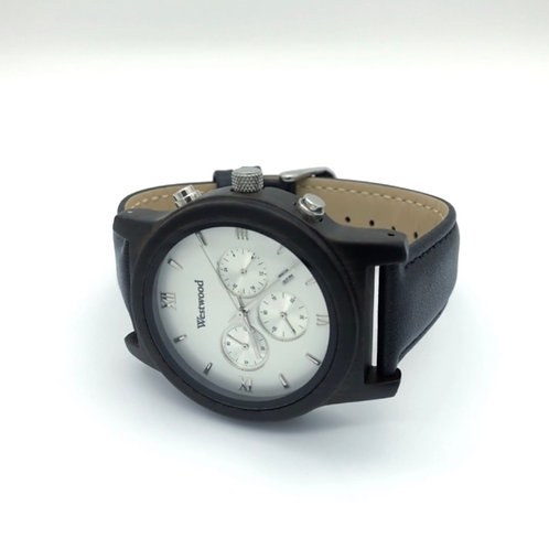 Cloud Cover Watch Wood - Leather