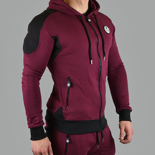 Slim-Fit Hyper Zipper Maroon Red/Black